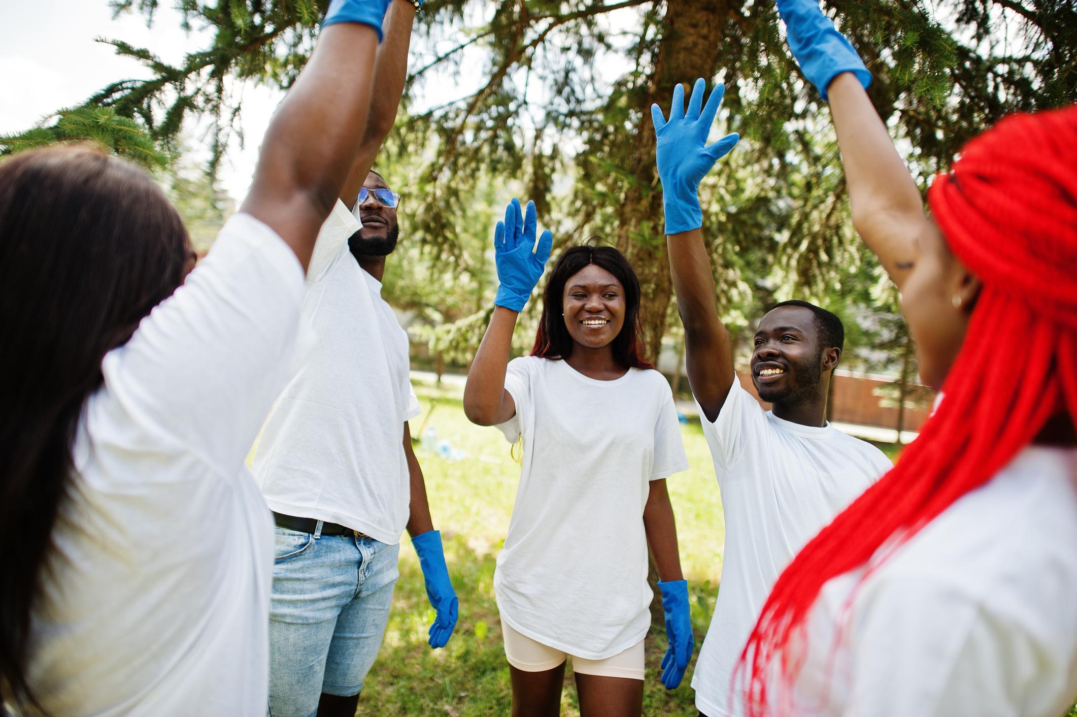 Group of happy african volunteers